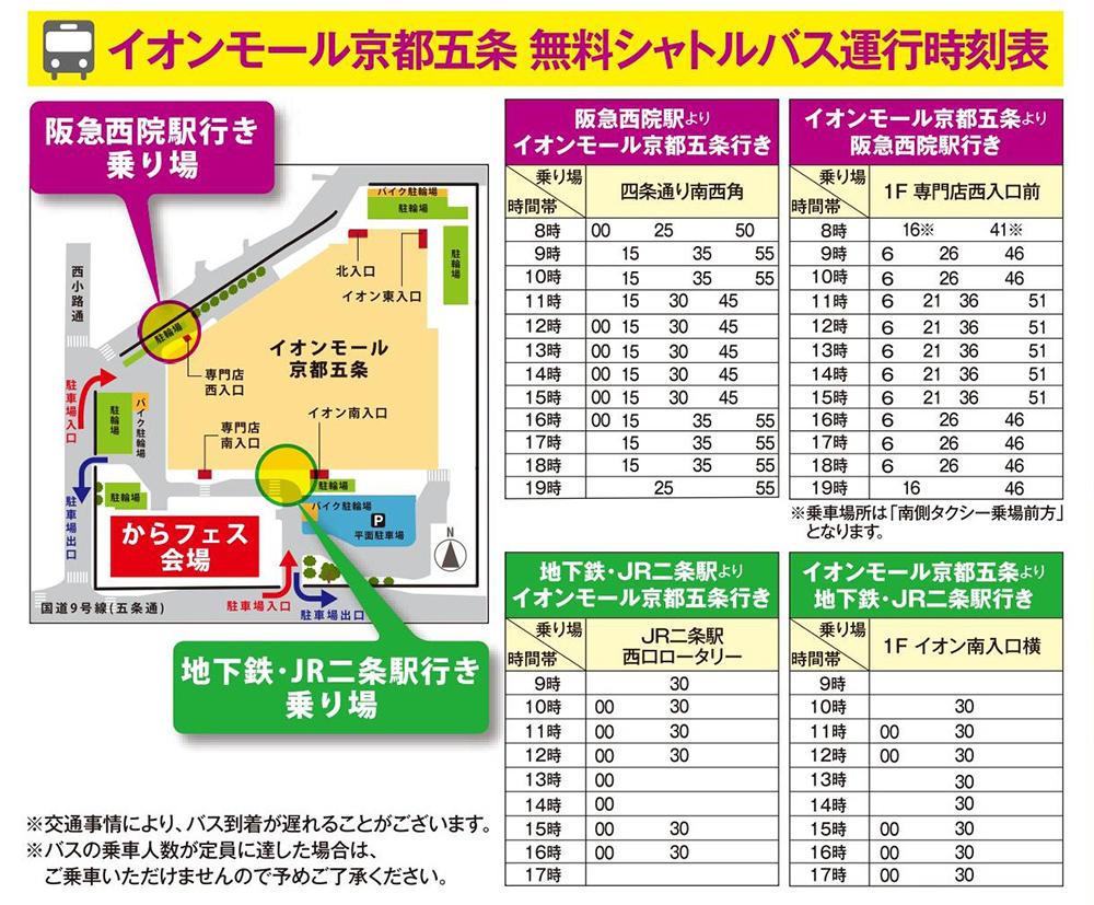 イオンモール京都五条 無料シャトルバス運行時刻表